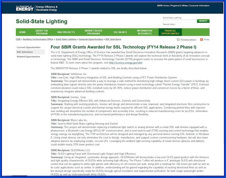 DOE announces SSL SBIR funding, new MYPP, and fact sheet