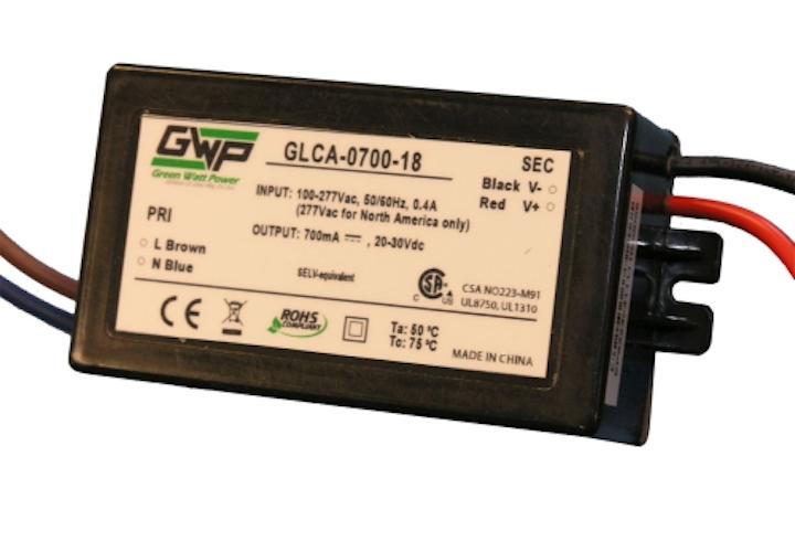 Green Watt Power's 18W LED power supply has 100-305 VAC universal input range