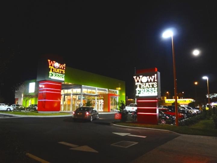 Arkon provides outdoor LED lighting for Wow! That's Fresh restaurant