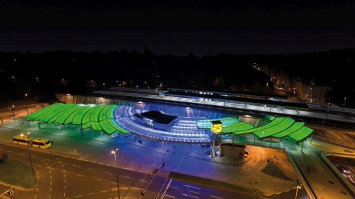 Insta Elektro RGBW LED luminaires and controls produce artistic lighting effects at Essen-Steele transport hub