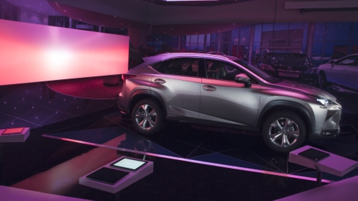 Philips combines luminous textiles and connectivity in auto dealer SSL project