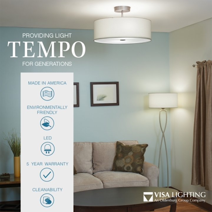 Visa Lighting offers Tempo Energy Star certified LED luminaires in various styles to complement decor