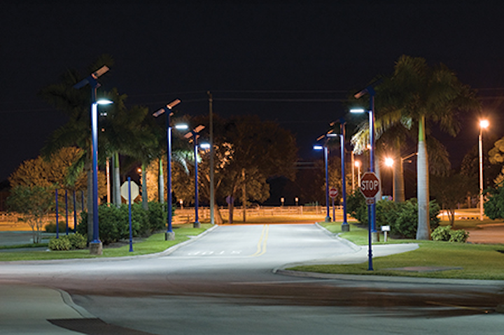 Commercial solar outdoor LED lighting communicates a renewable story