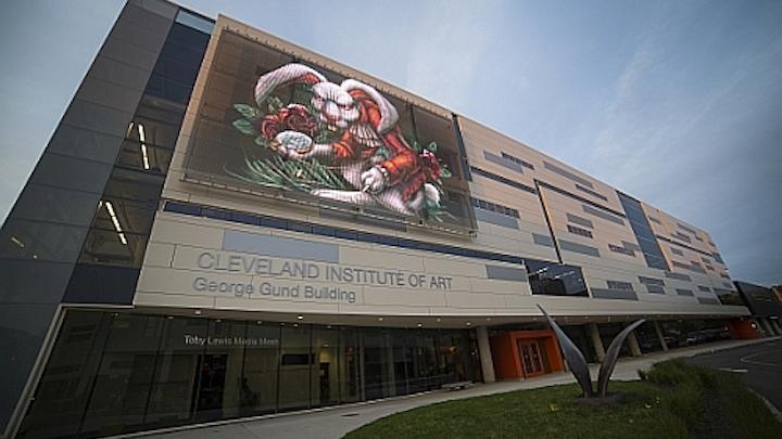 GKD wraps Cleveland art institute in LED-based mesh display
