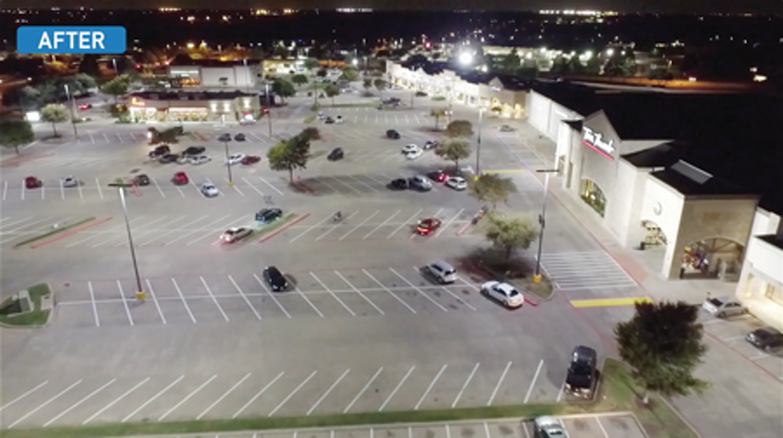 Texas plaza demonstrates uniform outdoor LED lighting, no spill