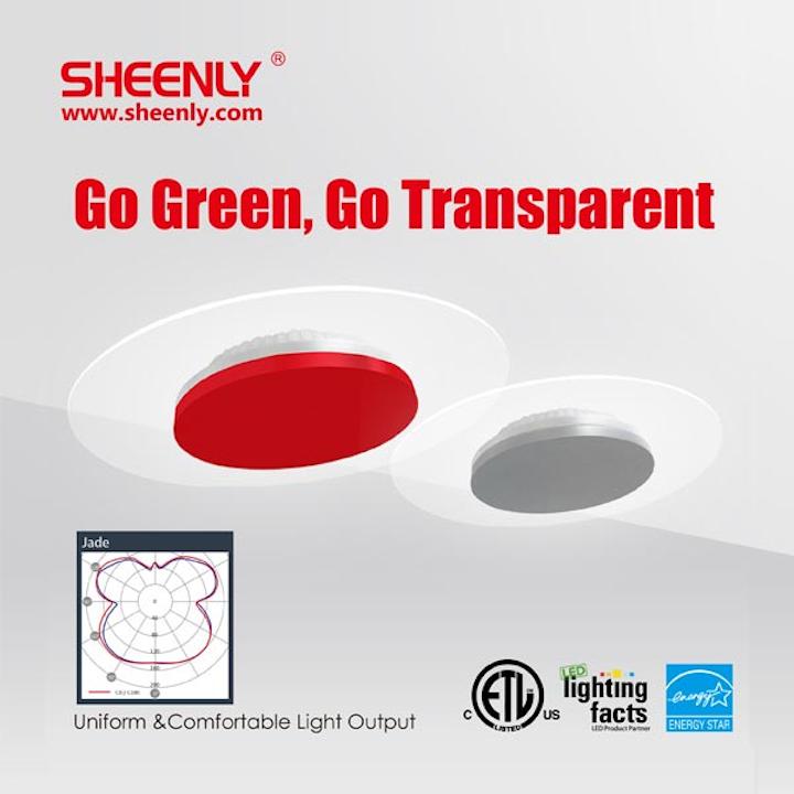 Sheenly's transparent Jade LED ceiling light delivers uniform diffuse light distribution