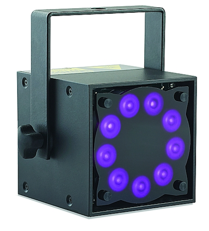 Rosco debuts Miro Cube LED entertainment luminaire with The Black Tank UV LED technology for fluorescent stage illumination