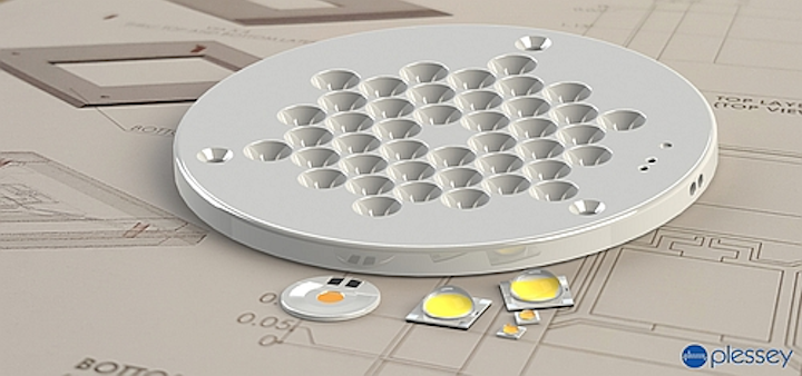 Plessey demonstrates LED modules for low-profile directional luminaires at LPS
