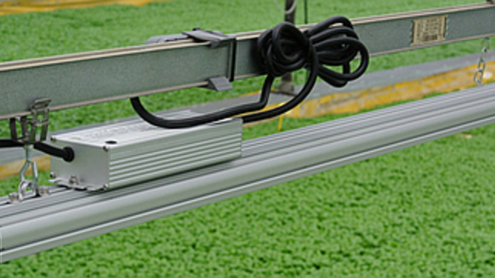 A horticultural lighting fixture developed by Ambra Elettronica uses a mix of Osram LEDs to reduce the basil production cycle as well as energy usage at an Italian grower.