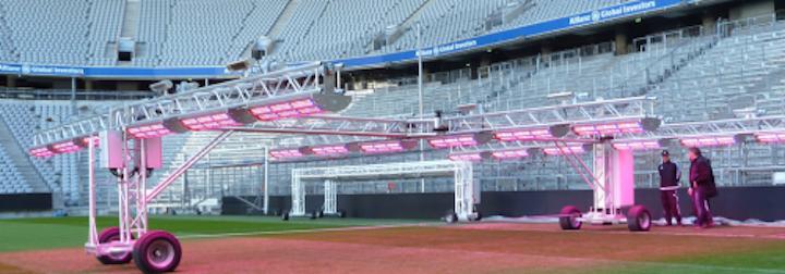 Mobilized LED-based horticultural lighting system grows grass on Bundesliga soccer pitch