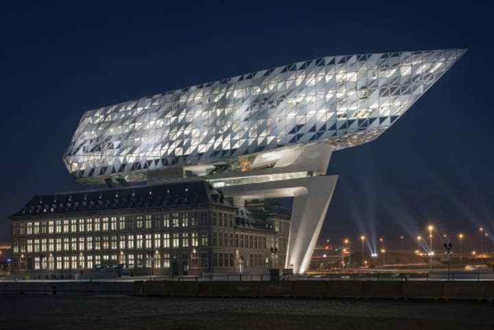 Multiline integrated LED light engines supplied by Tridonic into unusual angular architectural lighting configurations in the Havenhuis building