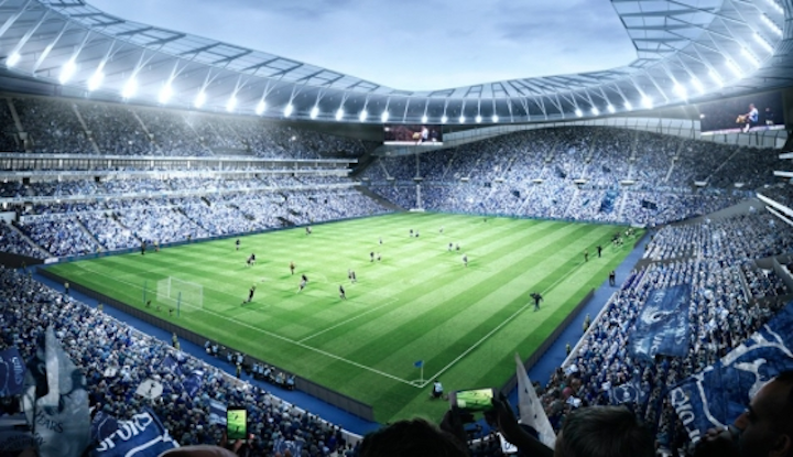 "As this rendering from the Tottenham Hotspur website shows, the team does indeed plan to illuminate the playing field. But the lights won't come from ""official lighting partner"" Zumtobel, who will be busy with LED lighting in other parts of the sports and entertainment complex. (Image credit: Tottenham Hotspur.)"