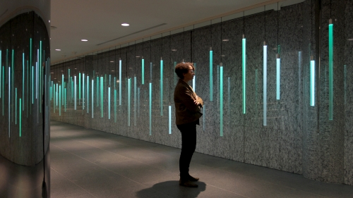 Colorspace, an artistic LED lighting installation, can be controlled by nearby users via text messages to allow interactive crowd capability.