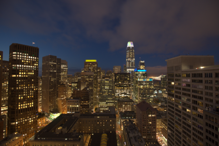Salesforce Tower skyscraper crowned with six-floor LED facade lighting art project in San Francisco