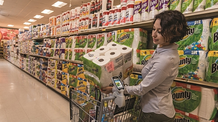 Is the Zebra device on top of the shopping cart handle, rather than smartphones, the future of how shoppers will engage with visible light communications (VLC)? (Photo credit: Zebra.)
