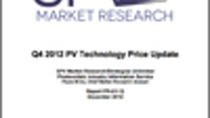 Q4 2012 PV Cell and Module Pricing Update