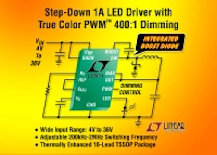 36V step-down LED driver delivers up to 1A with true-color PWM