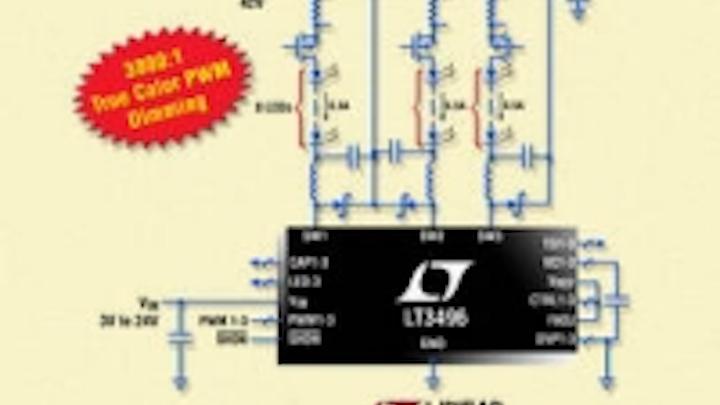 LInear triple output LED driver drives up to 24 x 500mA LEDs, offers