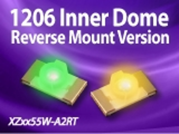 SunLED's latest 1206 packaged LED is reverse mount with inner dome lens