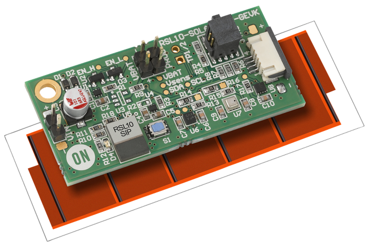 The ON Semiconductor multi-sensor platform design includes the company's RSL10 BLE transceiver plus sensors, all powered by the red solar film (shown at top). The same transceiver is powered kinetically in the company's design for a wireless light switch (seen below). (Photo credits: Images courtesy of ON Semiconductor.)