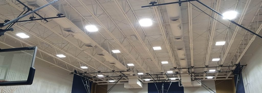 FSG is no stranger to the commercial lighting business. The 35-year-old company has provide lighting at many locations, such in this school gymnasium project. (Photo credit: Image courtesy of Facility Solutions Group.)