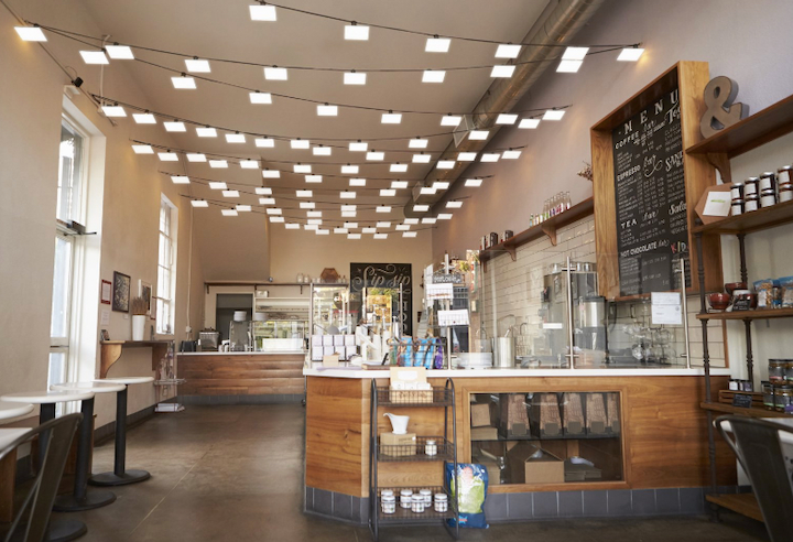 OLEDs providing interior ambience at a cafe. (Photo credit: Image courtesy of OLEDWorks website.)