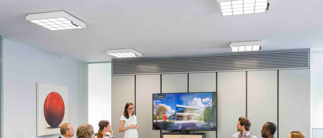 Philips LED luminaires embedded with Signify Trulifi 6002 technology provide light and data at Clearhout Communication in Ghent. (Photo credit: Image courtesy of Signify.)