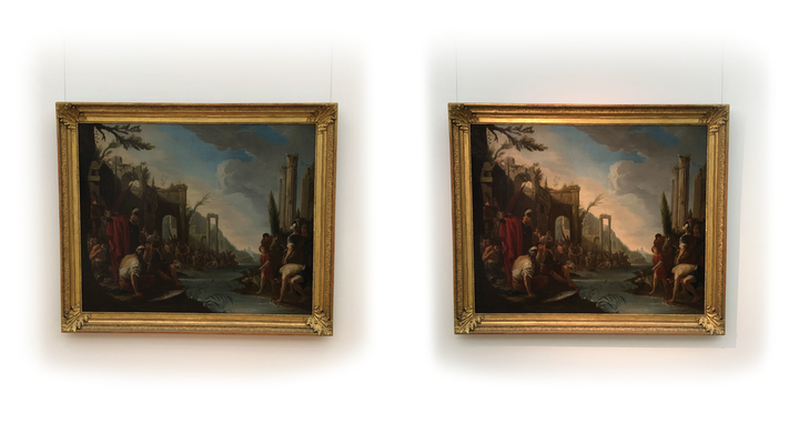 The photographs show Johann Heinrich Schönfeld's 'Gideon and his Warriors at the Jordan River' oil painting exhibited in the Zeppelin Museum without using Optisolis (left) and when using the technology (right).