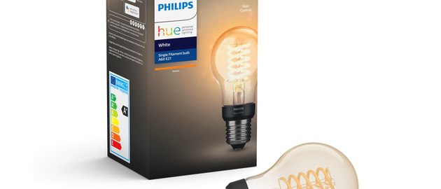 One of the three LED bulbs in Signify's new Hue filament collection is an E27 A60 for the European market. (Photo credit: Image courtesy of Signify.)
