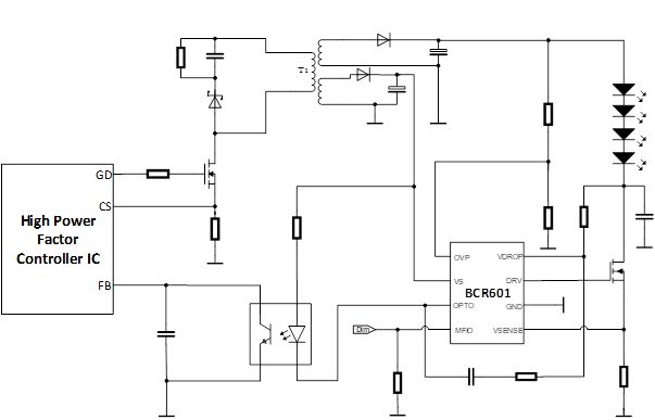 FIG. 1. Basic application schematic for LED driver with BCR601 linear driver IC in design. Images and table credits: All illustrations and table data courtesy of Infineon Technologies.
