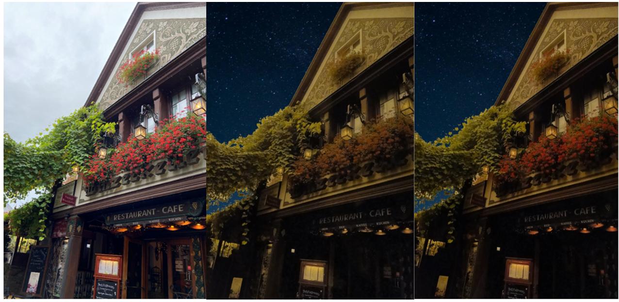 Color rendering comparison (CRI).  Left: daylight.  In the center: high pressure sodium lamps.  Right: 219F / 1800K / CRI 70.
